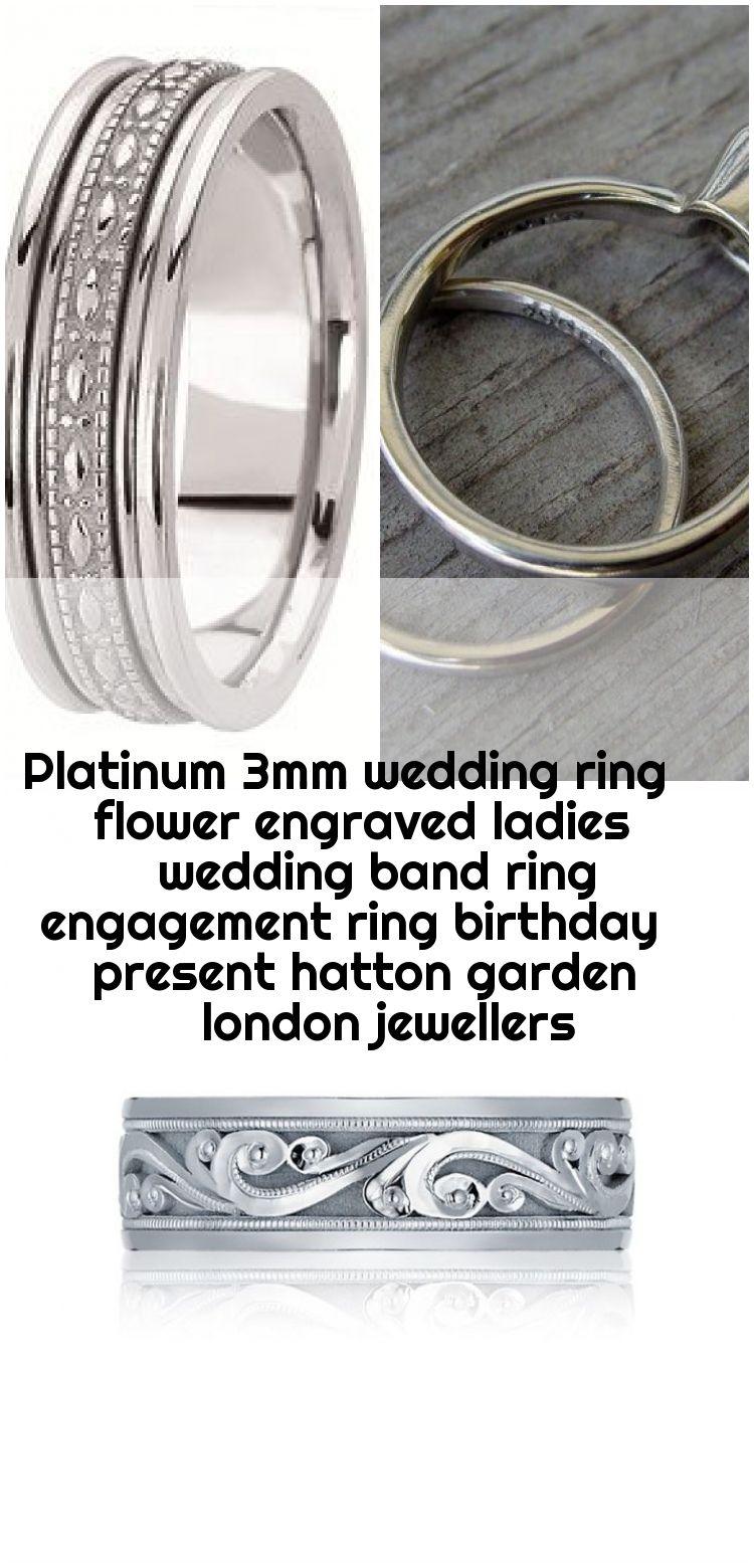 Platinum 3mm Wedding Ring Flower Engraved Ladies Wedding Band Ring Engagement Ring Birthday Present Hatton Garden London Jewellers