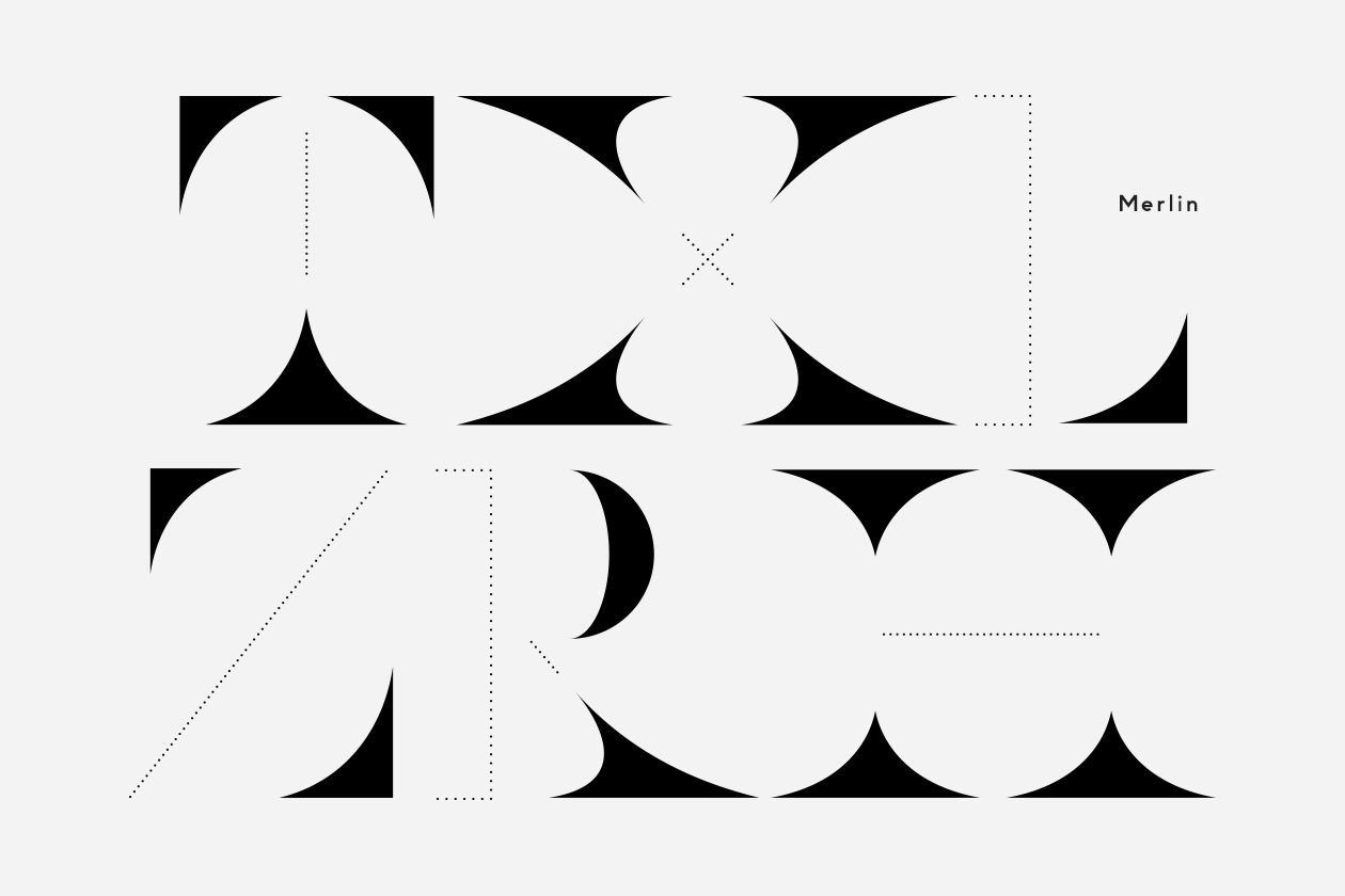 Merlin is a display typeface created as part of our art direction & design of The Opening, a book commemorating a series of art events staged by British fine artist Merlin Carpenter.