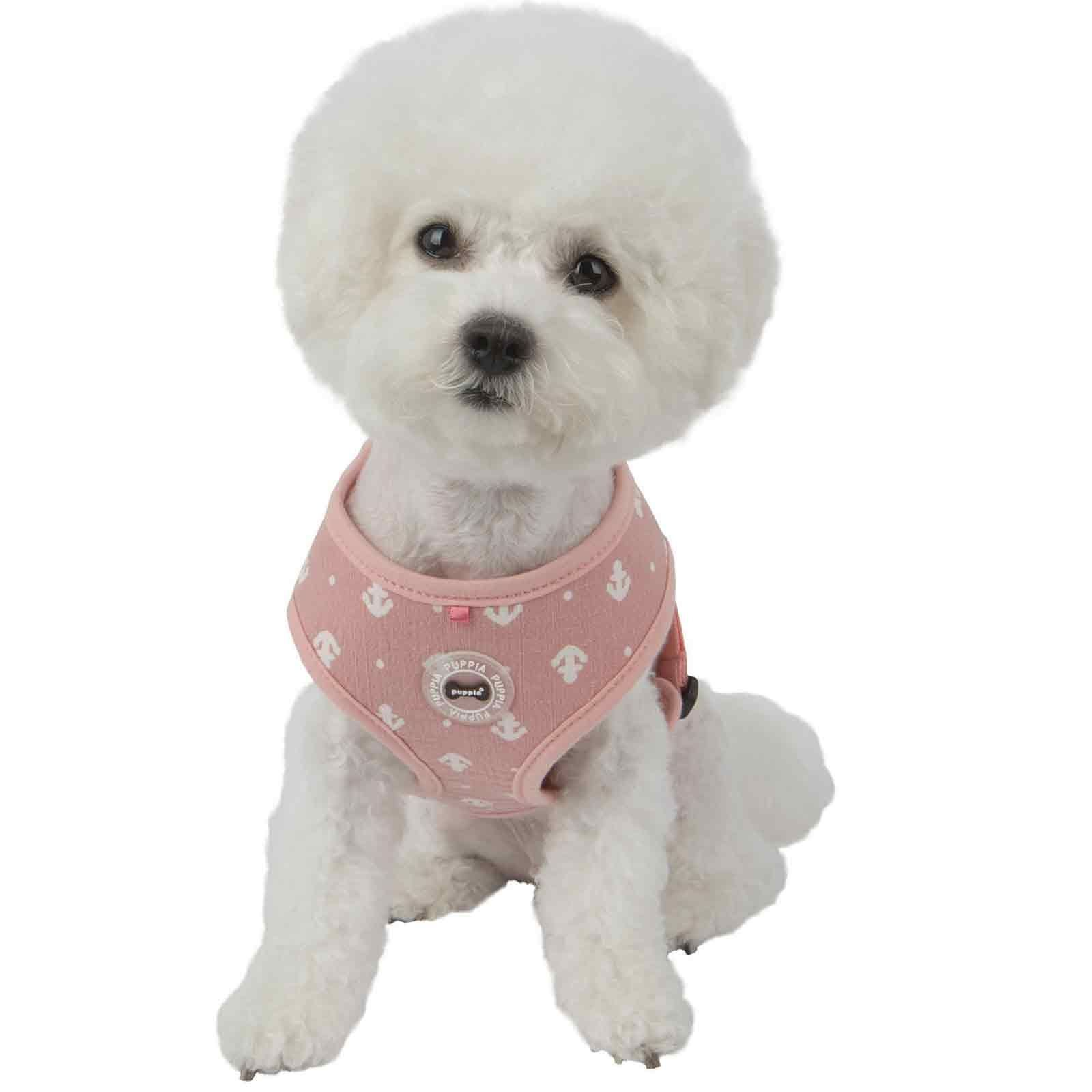 Puppia Ernest Dog Harness A Pink Adorable Little White Anchors