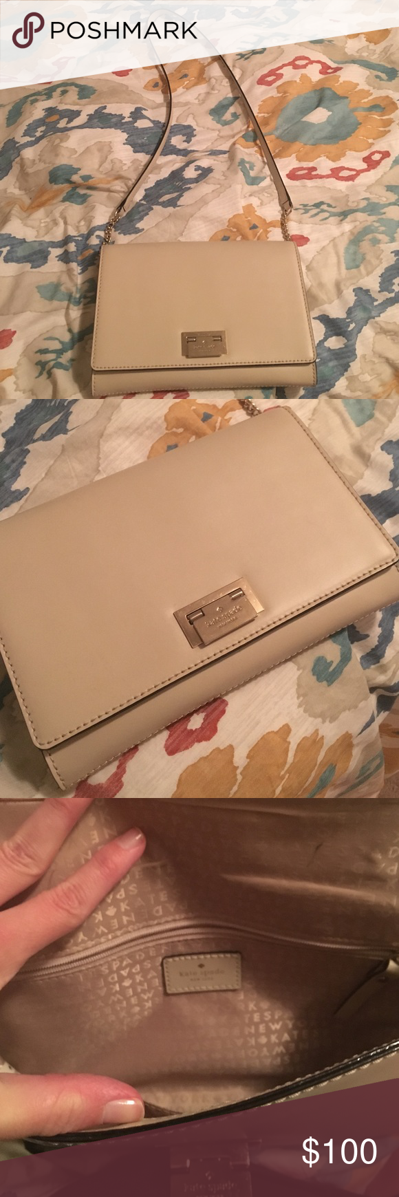 Kate Spade Envelope Purse This purse is nude colored and in great condition! Pen mark on interior as pictured. kate spade Bags Crossbody Bags
