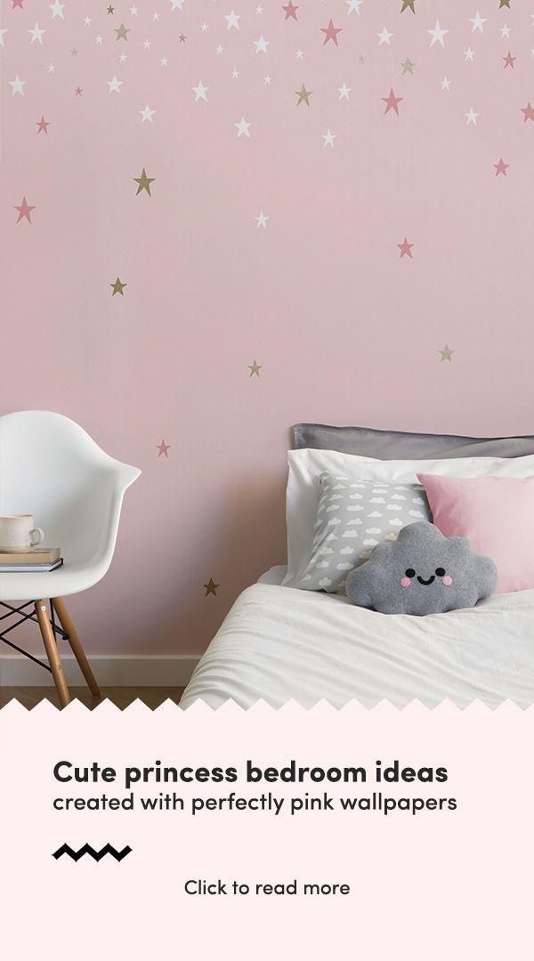 Falling Star Pink Wallpaper Mural | Feature Wallpaper Ideas ...