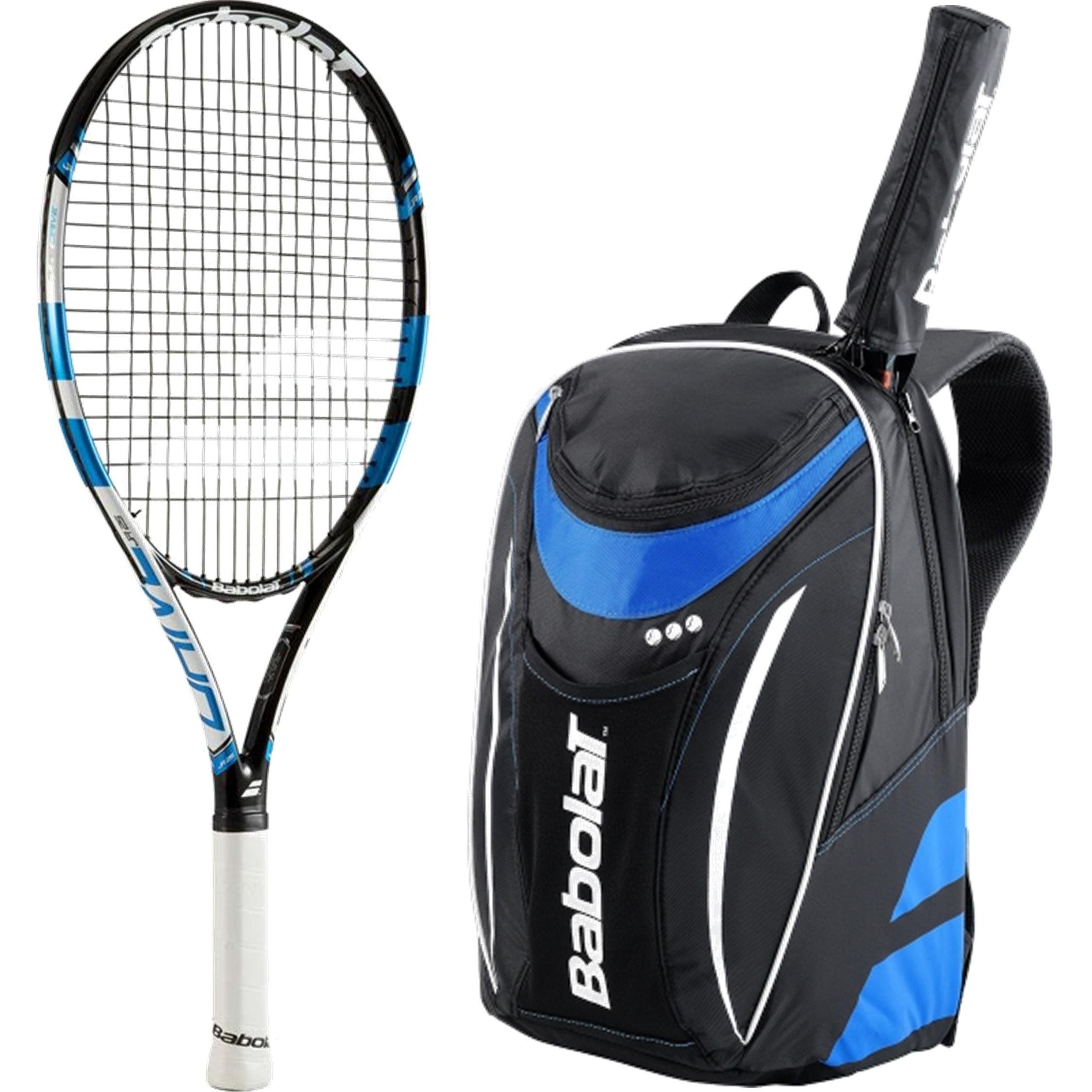 Babolat Pure Drive Junior 25 Tennis Racquet Blue Black White Bundled With Club Line Tennis Backpack Blue Black Tennis Backpack Blue Backpack Tennis Racquet
