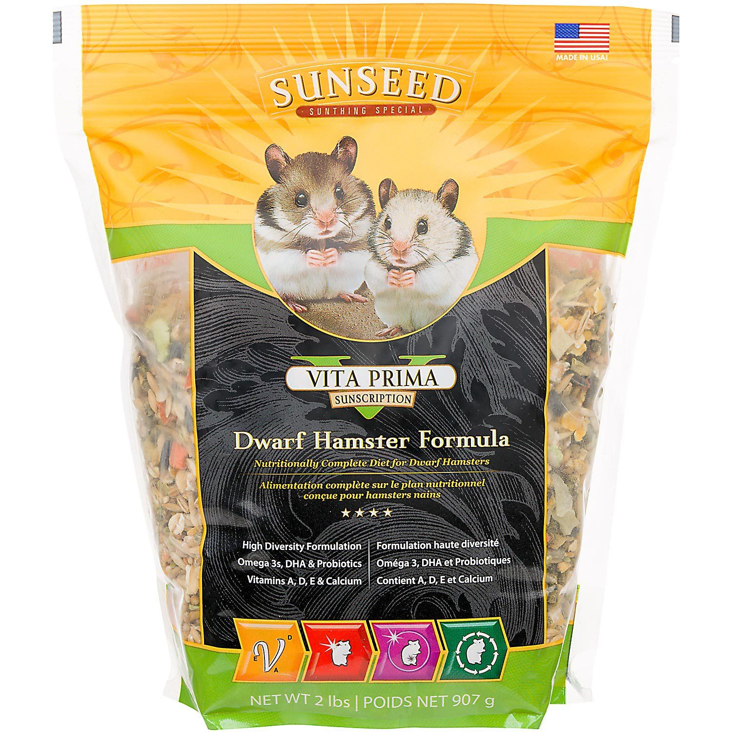 Nutritious, high-diversity dietFortified with vitamins A, D, E & calciumMade in the USAResealable bag keeps food fresh & tasty
