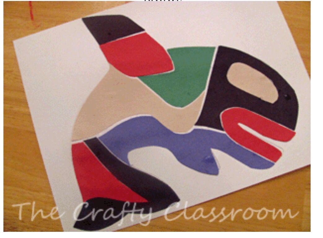 Killer whale template cut into various pieces