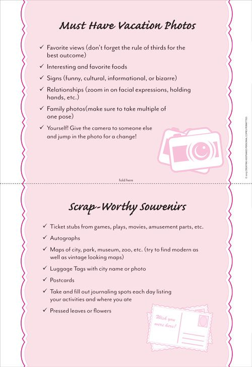 Download this Free Scrapbook Photo Checklist May\/June 2013 issue - creating checklist