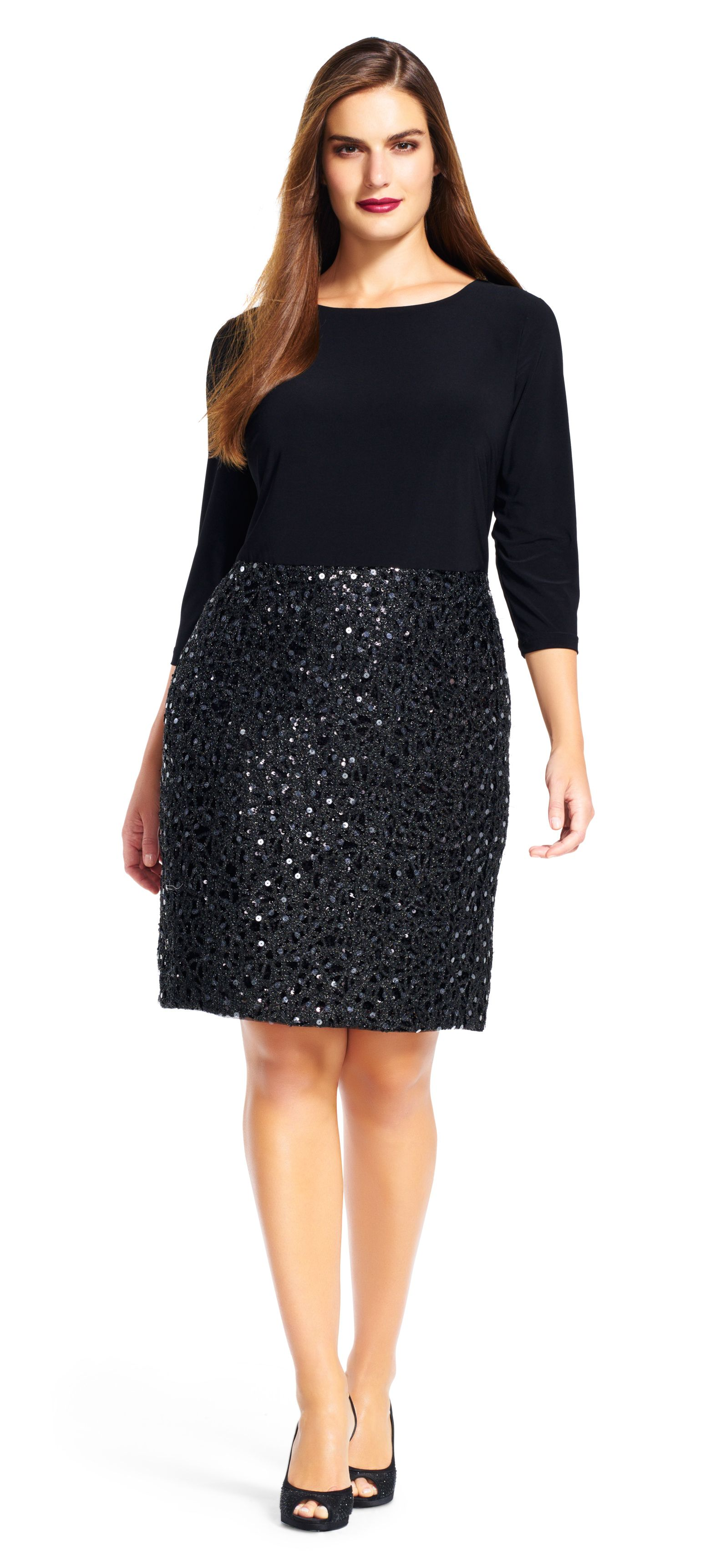 Adrianna Papell three quarter sleeve dress with sequin mesh skirt ...