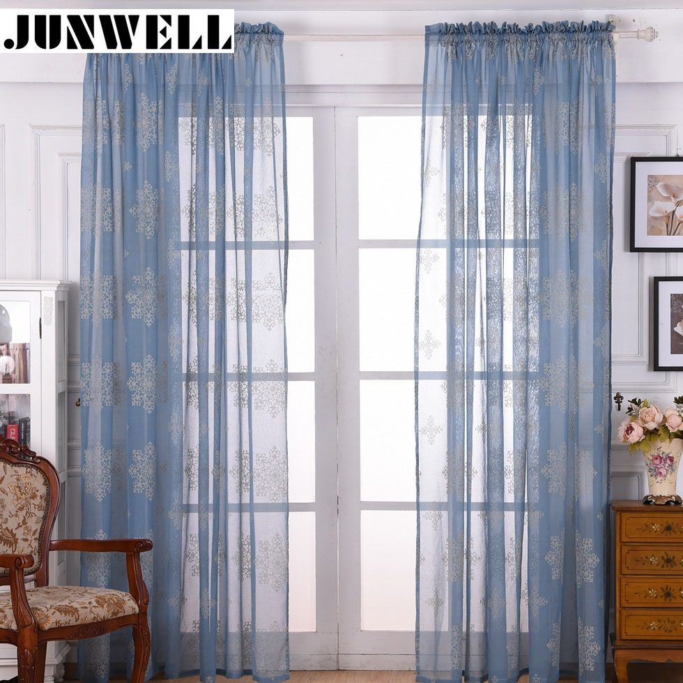 new polyester linen burn out voile organza curtain rod pocket