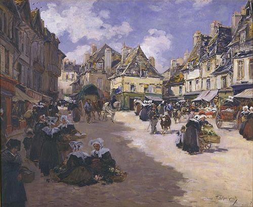 Fernand Legout Gerard 1856 1924 Quimper Marche Sur La Place