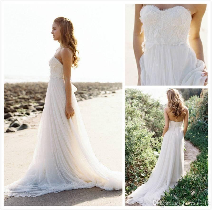 Ivory beach wedding dresses  Nice Great Hot WhiteIvory Wedding Dresses Lace Chiffon New Long