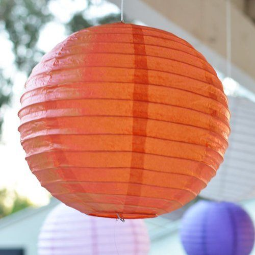 12 Inch Asian Style Round Paper Lanterns Orange 3 Per Pack By
