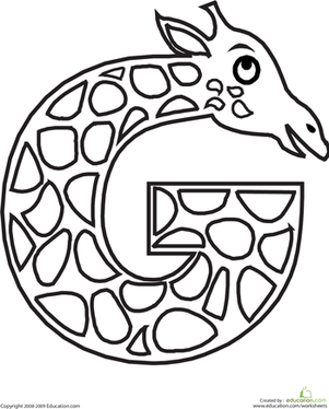 This Letter G Coloring Page Will Have Your Child A Long Necked Giraffe While Learning The Shape And Sound Of