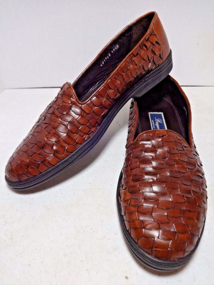 BRAGANO Mens Shoes Loafers 10.5 Brown Woven Leather Cole Haan Made in Italy