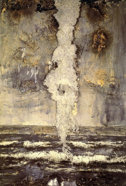 Emanation by Anselm Kiefer, 1984-86. Oil, acrylic and emulsion on canvas with applied lead.