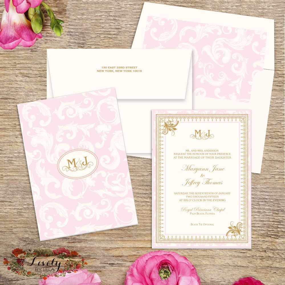 Blush and Gold Wedding Invitations Gold wedding