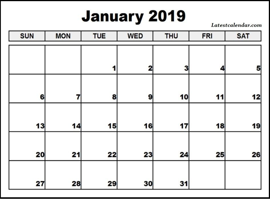 Calendar 2019 January Printable Monthly Template With Images