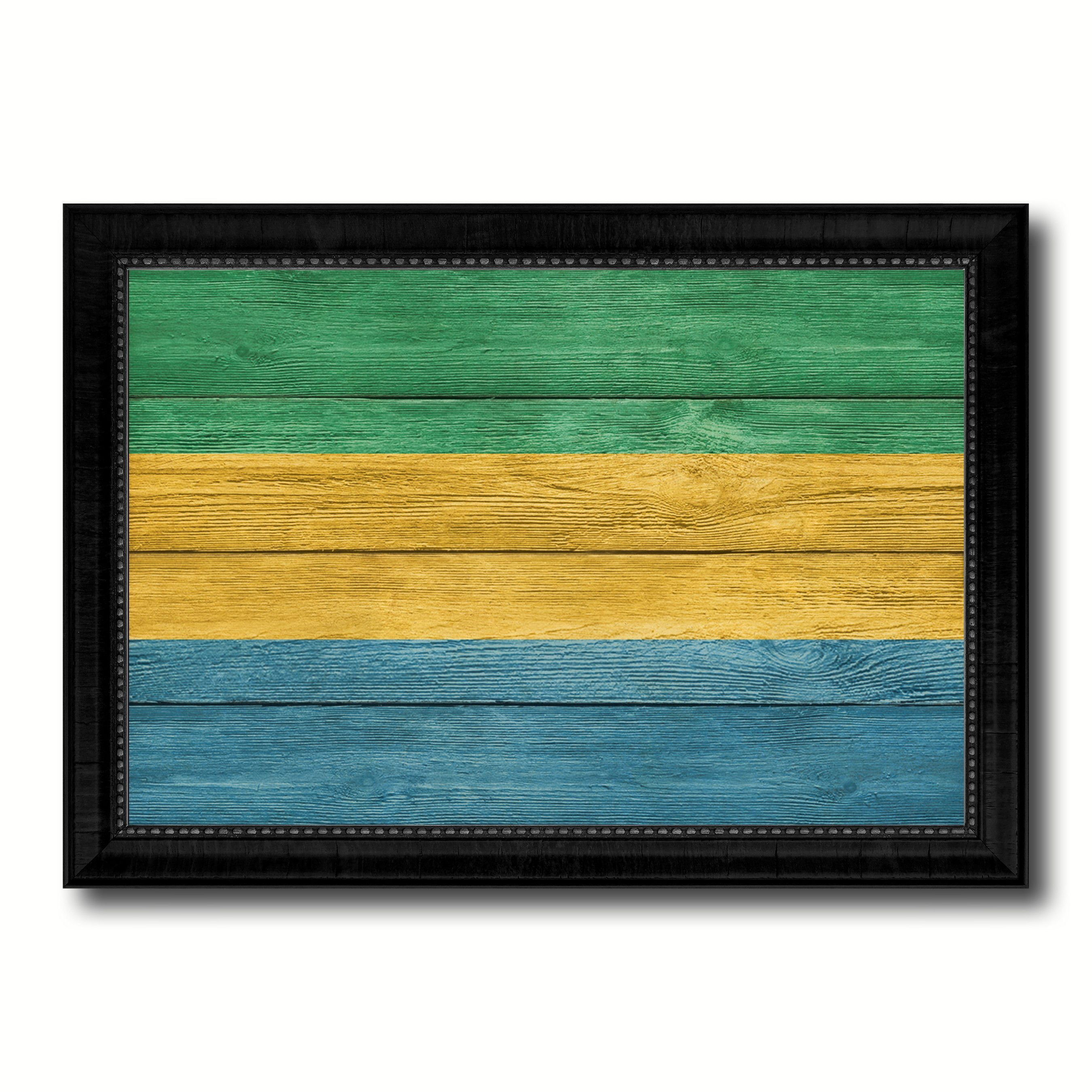 Gabon Country Flag Texture Canvas Print with Black Picture Frame ...