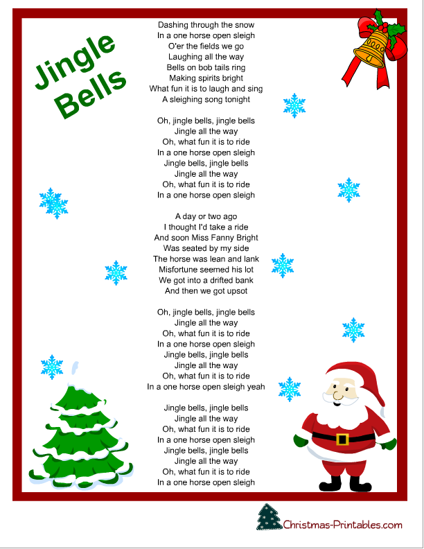 Http Christmas Printables Com Christmas Carols Free Printable Jingle Bells Christmas Carol Png Chanson De Noel Bricolage Noel Noel