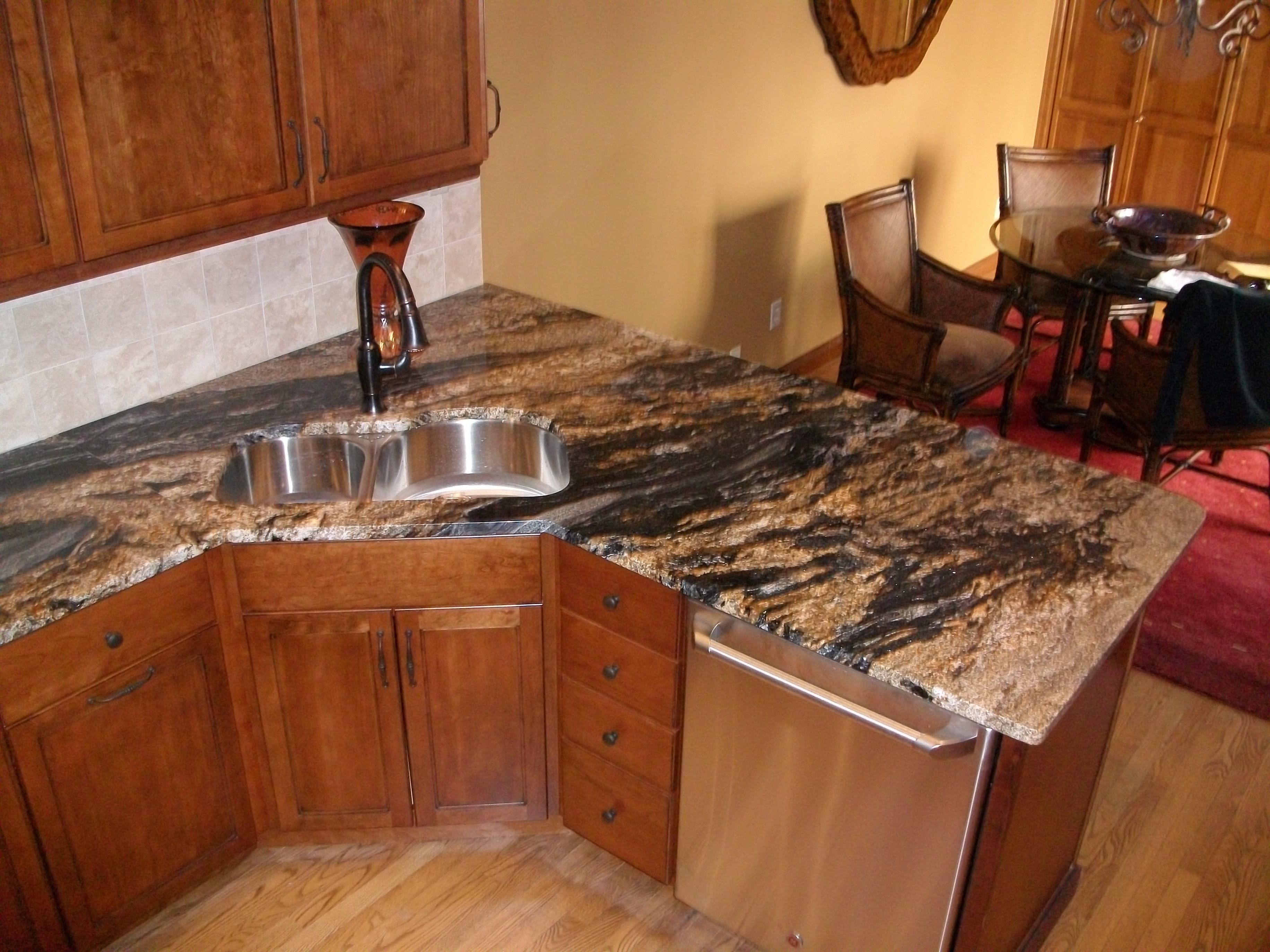 Corner Kitchen Sink With Stacked Stone And Granite Counter Tops Kitchen Ideas And Designs Kitc Inexpensive Countertops Cheap Countertops Granite Countertops