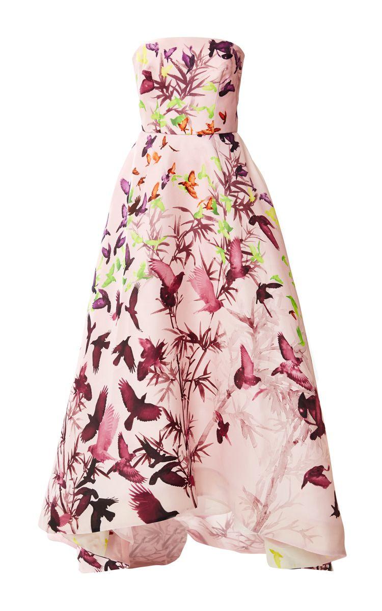 Bird Print Gazar Strapless Gown by Monique Lhuillier for Preorder on ...