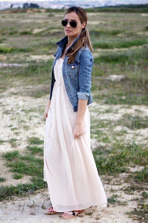 How To Wear A Denim Jacket In Spring 50 Outfits You Can Copy Springfashion Outfit Maxi Dress Trendy Dresses Style