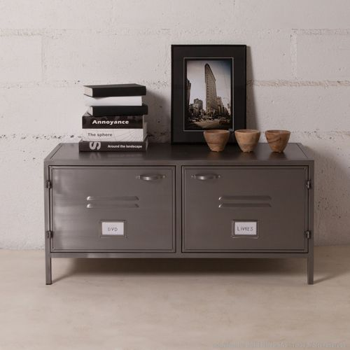 Buffet bas meuble tv en m tal gris 2 portes casiers style for Buffet bas tv
