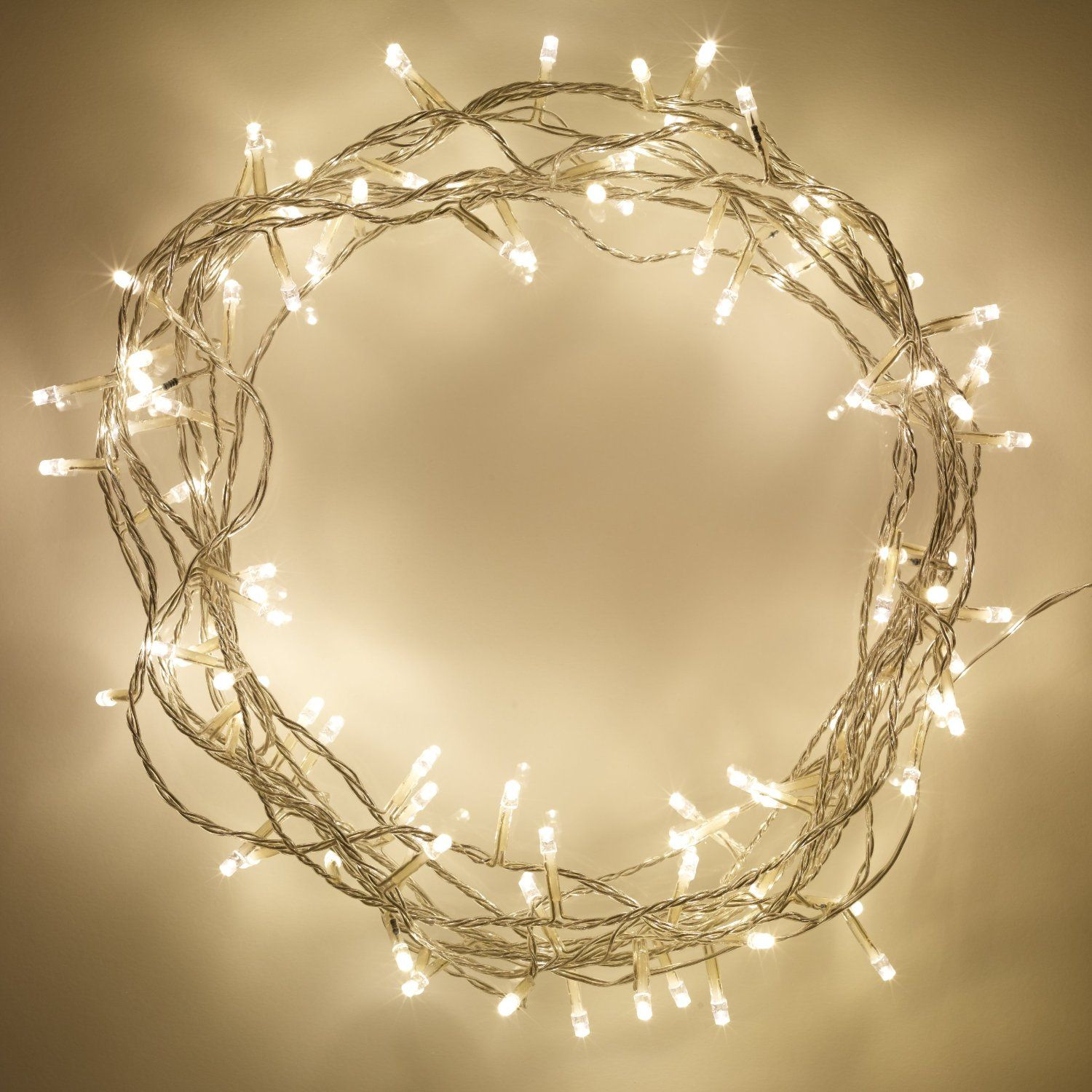 Indoor Fairy Lights with 100 Warm White LEDs on 8m of Clear