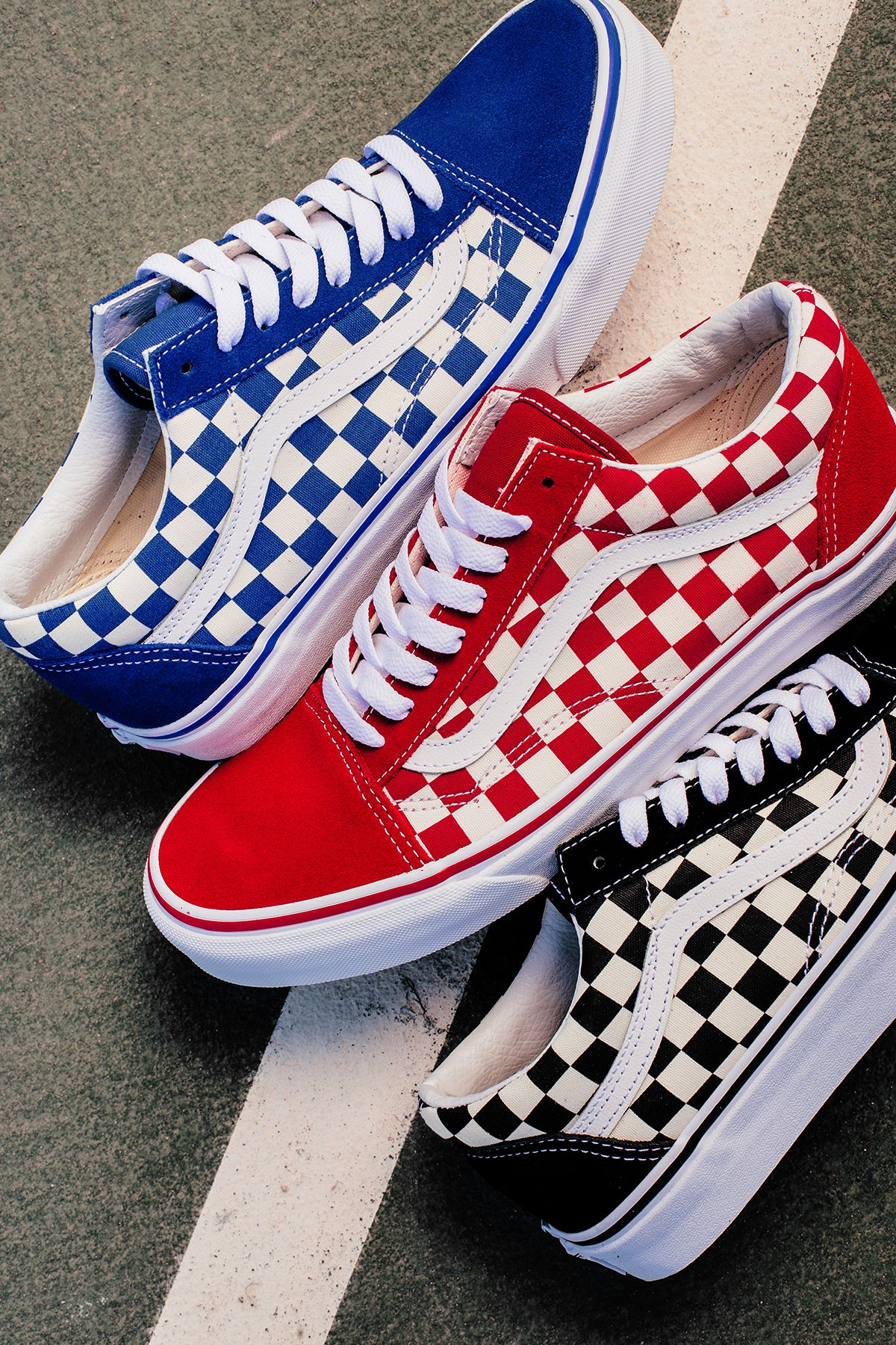 Old Skool Blue Checkerboard Vans | Vans boots, Sock shoes
