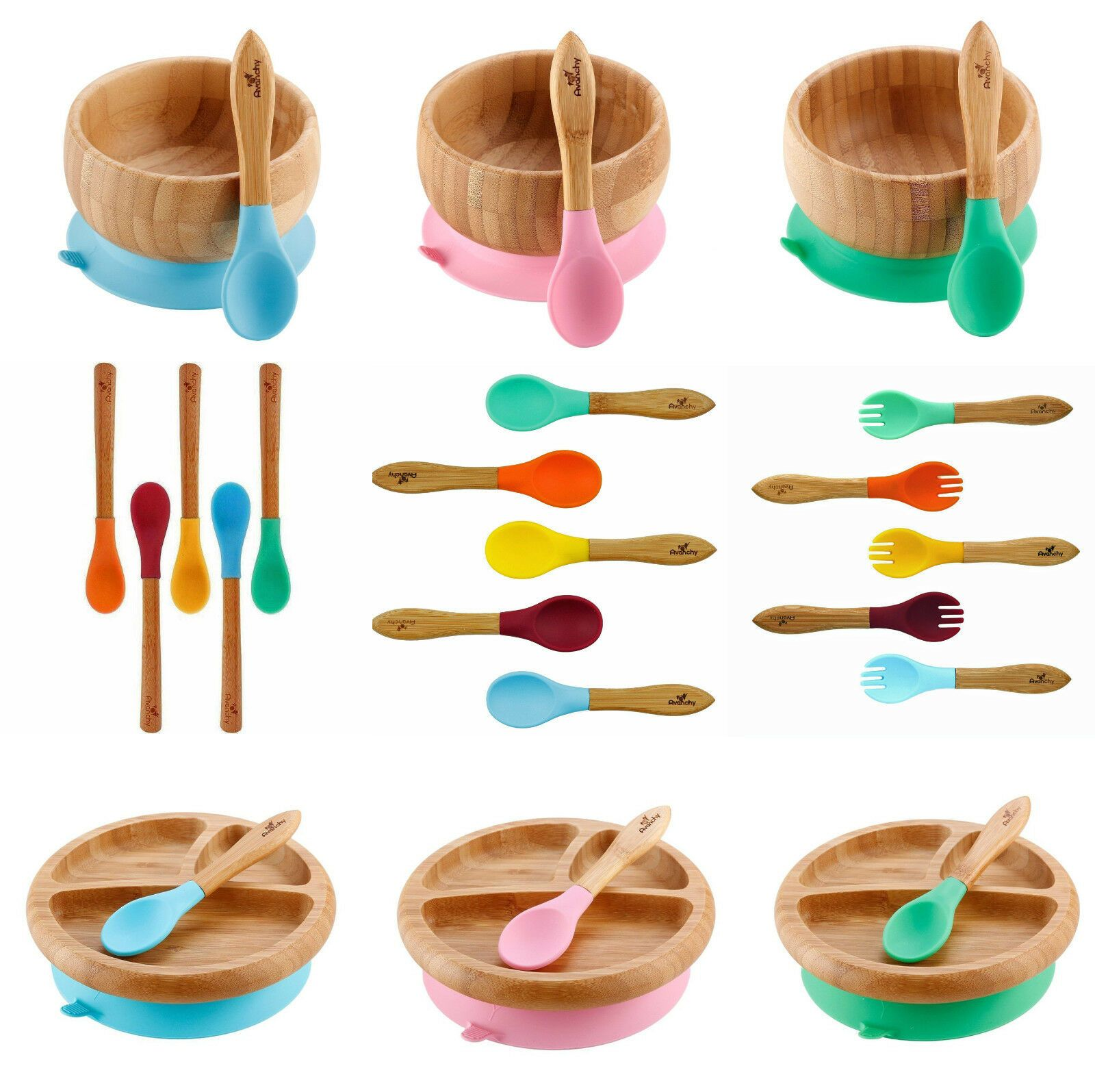 Cups Dishes And Utensils 157325 Avanchy Organic Bamboo Baby Bowl Or Plate With Suction Spoon Utensil Set Buy It No Baby Bowls Baby Utensils Baby Dishes