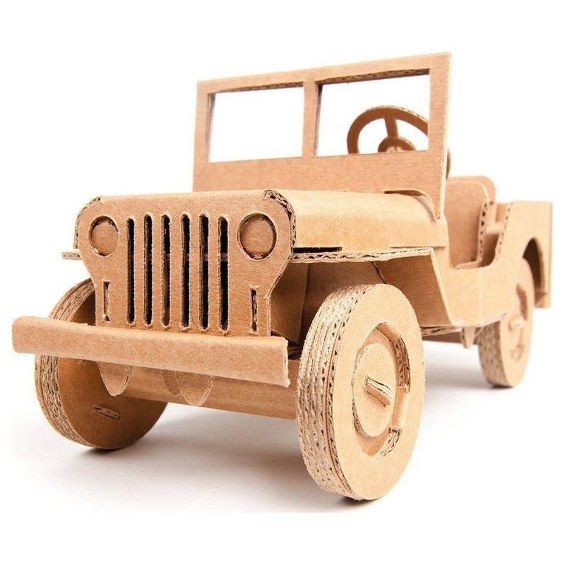 Voiture jeep willy en carton brun construire 22cm for Voiture a construire