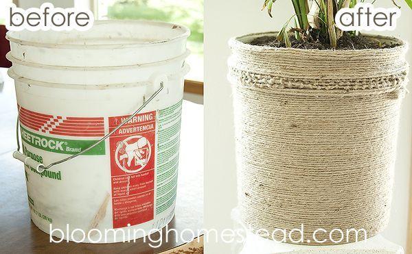 DIY Jute Bucket Makeover ...super inexpensive plant holder! -  Calculating Infinity -