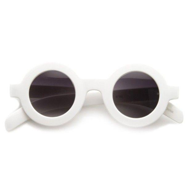 Sunglasses: white, round sunglasses, retro round sunglasses, thick ...