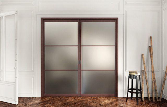 Lot de 2 portes de placard coulissantes, wengé, 250x153cm Leroy - kit pour porte coulissante placard