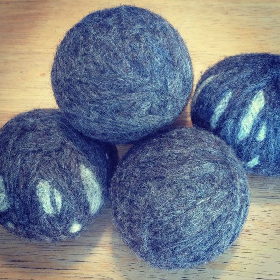 Use felted dryer balls in place of traditional dryer sheets to soften clothes and reduce static cling (they bounce around in the dryer, making your clothes fluffier and absorbing moisture, which helps them dry faster). Available on Etsy!