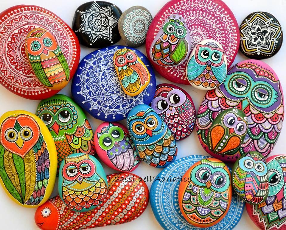 Piedras pintadas lechuzas pinterest piedras pintadas for Tecnica para pintar piedras