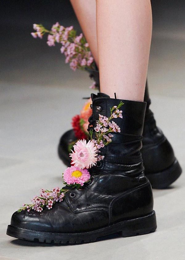 Flowers in your boots.