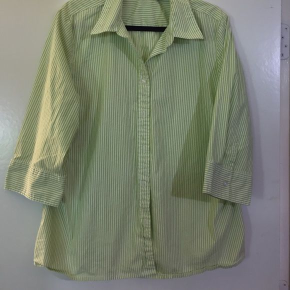 Kim Rogers Women S Blouse Lime Green And White Striped Button Down