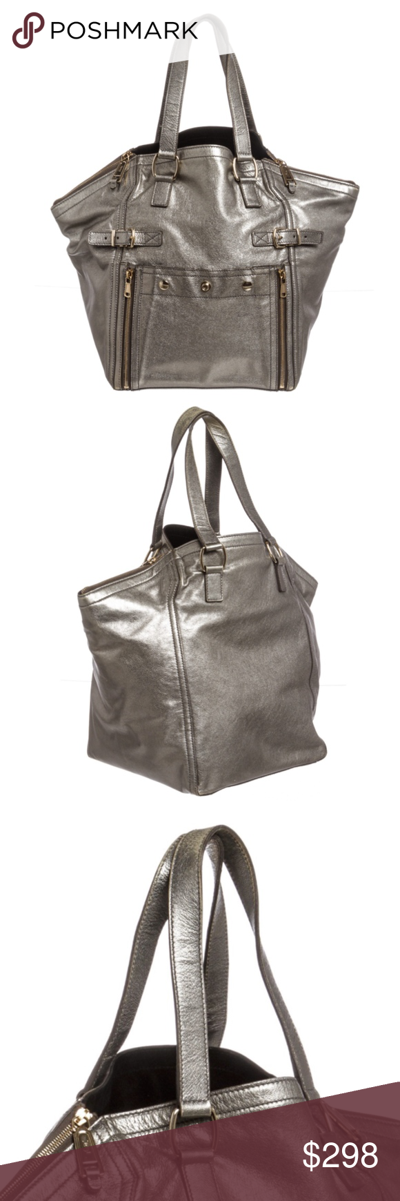 Yves Saint Laurent Silver Leather Downtown Tote Previously loved YSL ... 27a5f88a60e1c