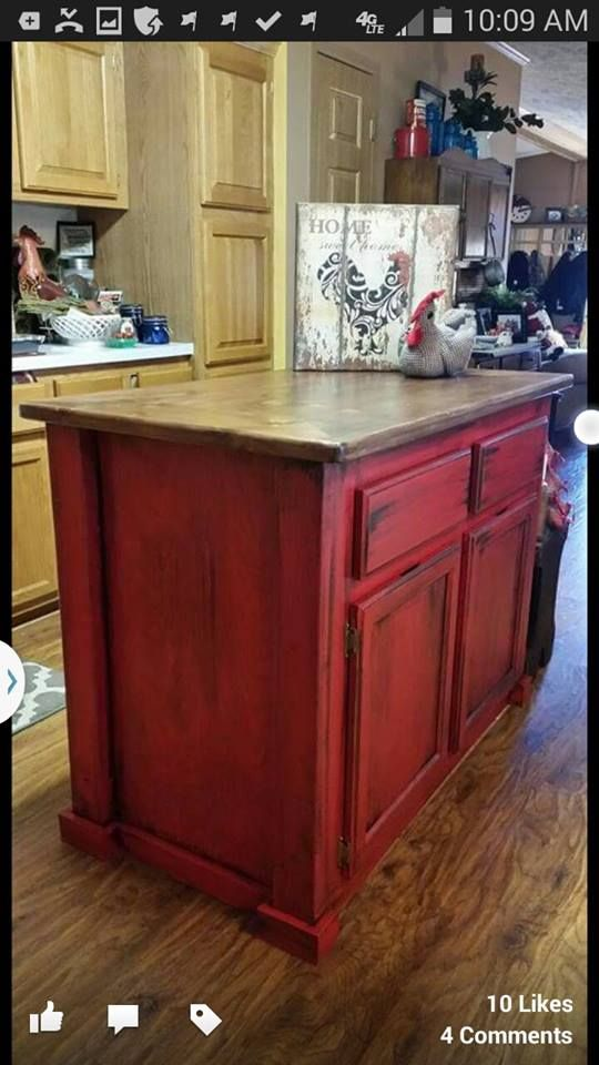 Best Of Distressed Red Kitchen Cabinets