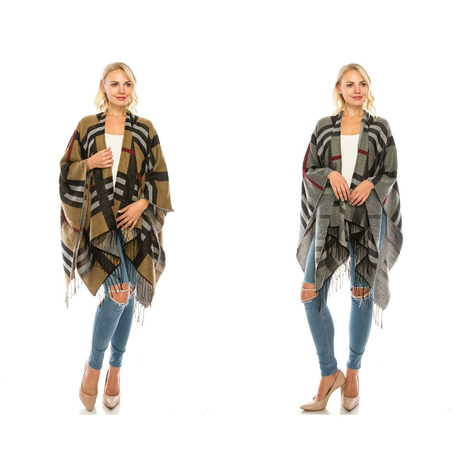 Bold Plaid Checker Pattern Shawl - Fashion Fantasia