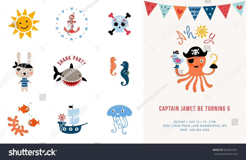 Pirate birthday invitation vector illustration 4th birthday pirate birthday invitation vector illustration stopboris Image collections