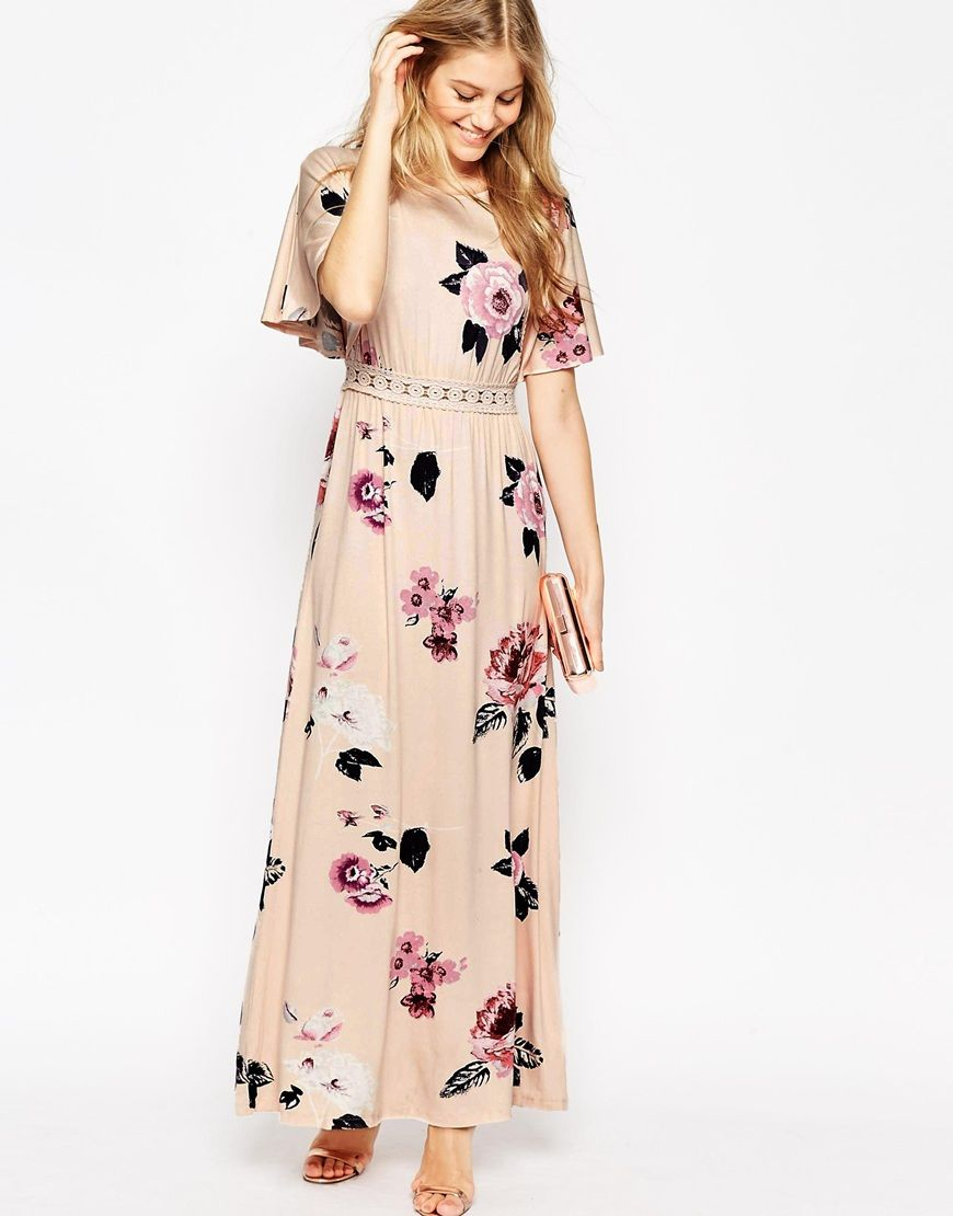 Floral print wedding dresses  Image  of ASOS Angel Sleeve Maxi Dress With Lace Inserts In Floral