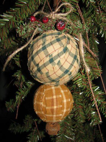 primitive country rag ball christmas tree ornament handmade old farmstead - Primitive Christmas Tree Ornaments