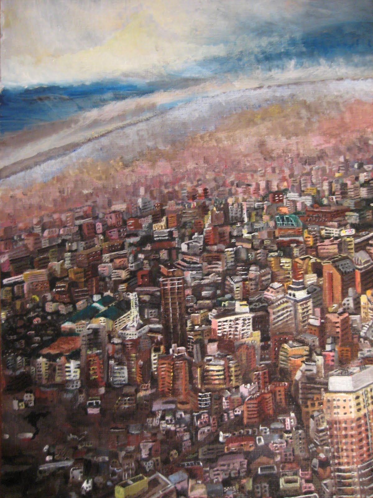 View of Tokyo, Acyrlic on Canvas