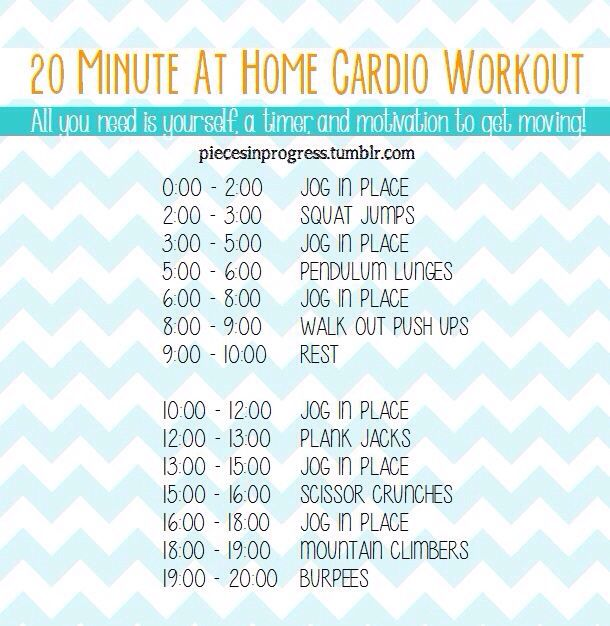20 Minute at Home Cardio Workout Running Workouts, Home Cardio Workouts, Cardio  Workout At