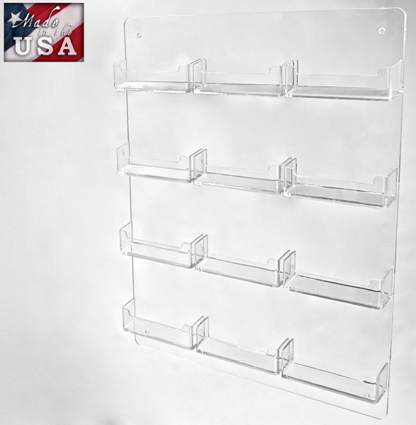 12 Pocket Wall Mount Business Card Holders In Acrylic Display