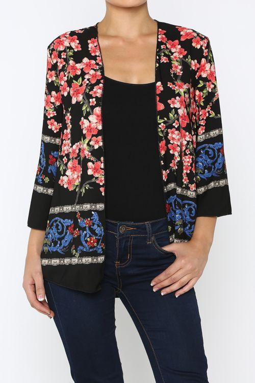 REMEMBER WHEN Black Floral Blossom Kimono Cardigan Shop Simply Me ...