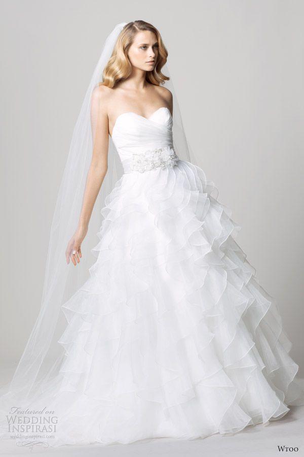 Nice Wedding wtoo fall strapless wedding dresses ruffle ball gown skirt