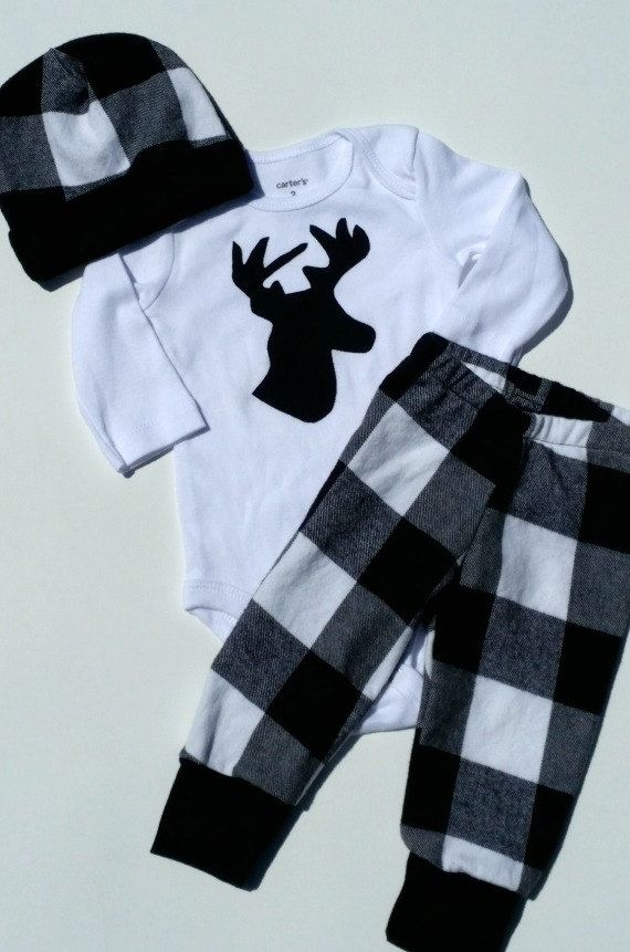 Newborn baby coming home outfit Black plaid deer outfit Baby boy going home set…