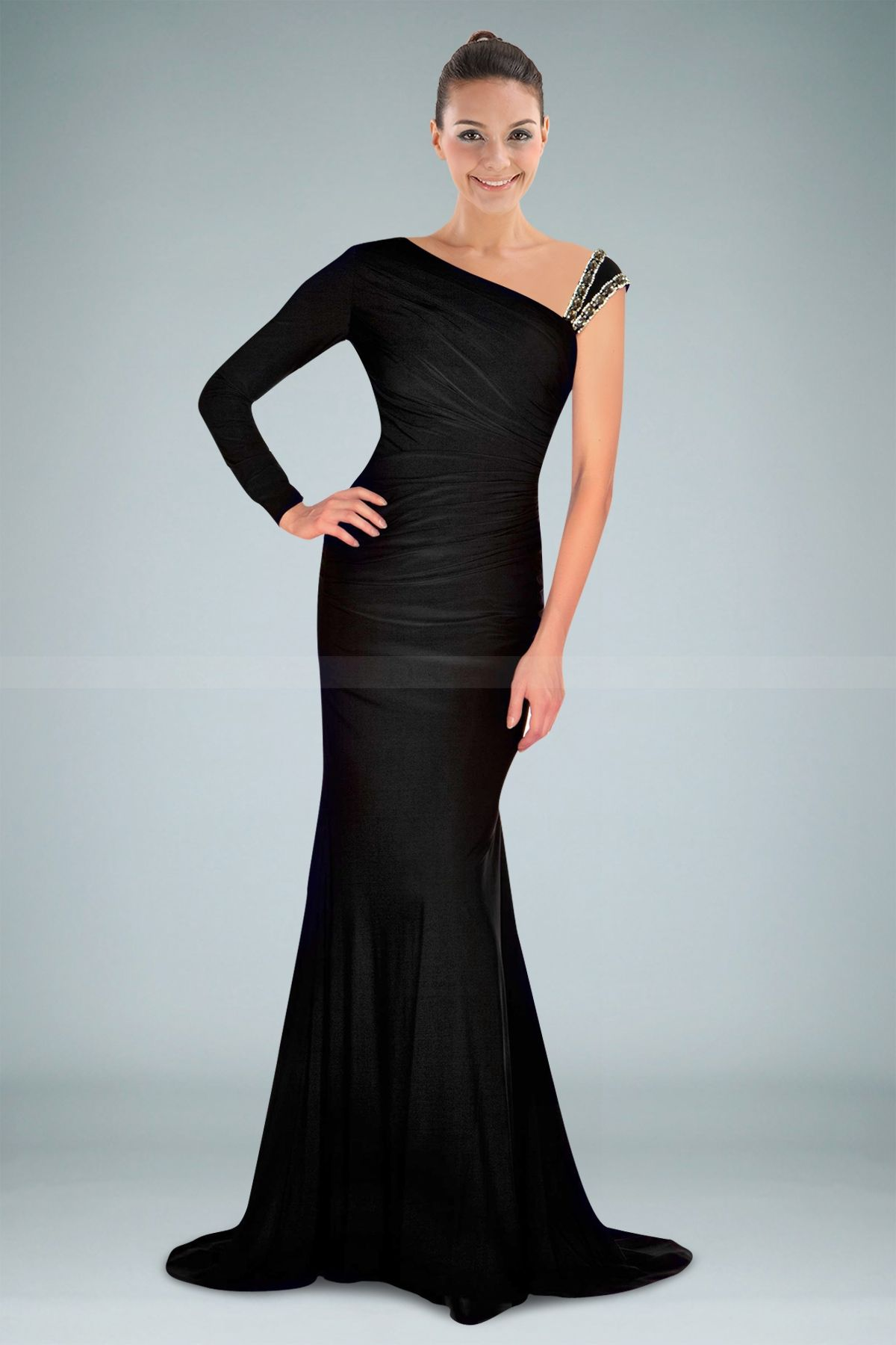 Smashing One Long Sleeve Black Evening Dress with Beaded Strap www ...