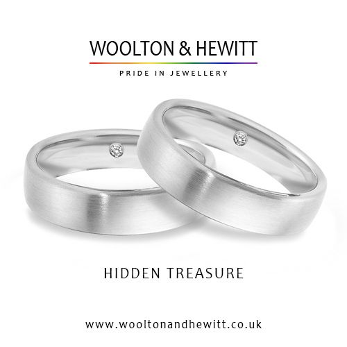 """""""Hidden Treasure"""" by Woolton & Hewitt - a very special wedding ring with a secret diamond placed inside the band. Pure romance. Pure Love. From specialist LGBT jeweller creating traditions for the lesbian and gay community. #lesbianweddingring #lgbtring #secretdiamond #diamond #gay #lebsian #ring #rings #wedding #gaywedding #gaymarriage #gayweddingring"""